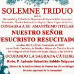 Se celebra el triduo en honor a Jesucristo Resucitado en la Basílica Menor Nuestra Señora de los Milagros